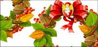 Vecteur de Noël, d��corations de Noël, les feuilles, les noix, l