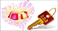 Vecteur des cl��s, des cadeaux, fleurs