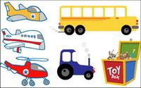 Aviones, helic¨®pteros, autom¨®viles, tractores, trenes de juguete y vector