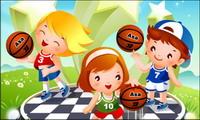Kinder-Basketball Synchronized Vector
