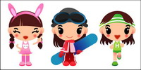 Girls skateboarding, running Vector