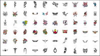 Schwerter, Drachen, Schmetterlinge, Rosen, Kreuze, Phoenix, Adler, Totem Vektor