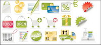 Stylos, cartes bancaires, cartes de cr��dit, ferm�� ouvert, codes-barres, caisse enregistreuse Vector