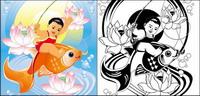Gemälde, Lotus, Fisch, Goldfisch Vektor