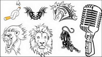 Totem, los tatuajes, los cigarrillos, a caballo, Lionhead, el leopardo de vectores