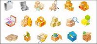 Cartons, boîtes �� outils, des globes, des caisses en bois