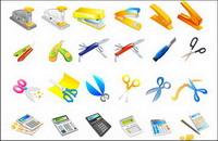 Grapadora, cuchillo, tijeras, calculadora, plumas