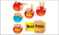 Gestos de ventas icono Vector material