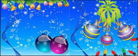 Santa Claus, des chaussettes, des boules suspendues, skis, ange, bougies