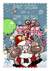 Handgemalte Weihnachtsmann, Geschenke, Vektor