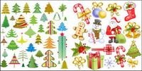 Santa Claus, tag, b��quilles, arc, chaussettes, vecteur flocon de neige