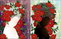 Femme avec des fleurs mat��riel Vector-4