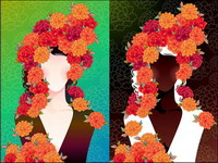 Woman with flowers Vector material -2