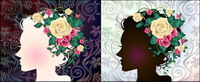 Frau mit Blumen, Vektor-Material -1