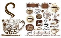 Kaffeekanne, Kaffeetassen, Kaffeebohnen, ein Caf�� eingerichtet Vektor