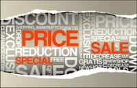 Papier zerreißen Verkauf, Preis-Vektor