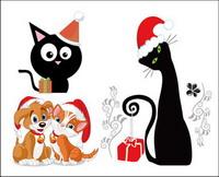 Chiens et Chats Noël Vector