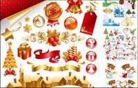 Geschenke, Kerzen, Glocken, dekorativen Bogen Vektor-Material