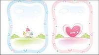 Maisons, des fleurs, ciel, nuages, la Saint Valentin Vector