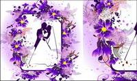 Le mariage, les baisers, les fleurs mat��riel vecteur