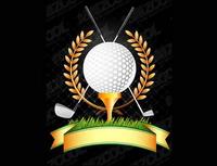 De golf, palos de golf, vector de trigo