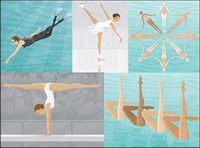 Scuba diving, skating, synchronized swimming, gymnastics, balance beam