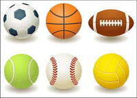 Fußball, Basketball, Rugby, Tennis, Baseball, Volleyball Vektor-Material