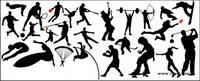 Hochsprung, Fußball, Basketball, Tennis, Baseball, Tauchen, Fallschirmspringen, Gewichtheben, Skaten
