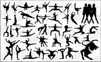 Vector people silhouette dansant
