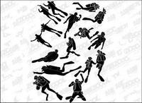 Les gens silhouettes Mat��riel de plong��e vecteur