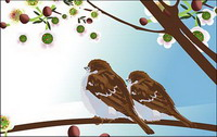 Deux oiseaux vecteurs
