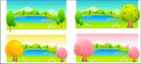 Los ¨¢rboles y vector de color del lago
