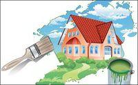 Gemälde Ein neues Haus Vector Material