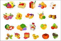 Obstkorb, Haselnuss, persimmon Vektor