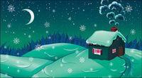 Cartoon Snow Moonlight