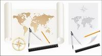Cartes, du mat��riel vecteur, papier, rouleaux de papier, la carte du monde