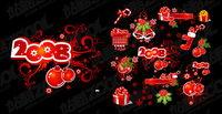 2008 Weihnachtsschmuck Elemente und Muster Vektor Material
