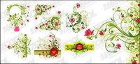 Rouge et vert motif fleur combinaison vecteur de mat��riel