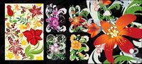 Hand-d��cor�� de fleurs peintes vecteur mat��riel