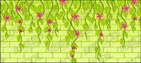 Vector de flores en la pared del material