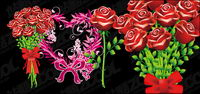 Roses and heart-shaped pattern vector material