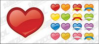 web2.0 style heart-shaped icon vector material