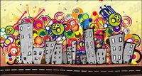 Schöne Stadt Vektor Illustrationen Material