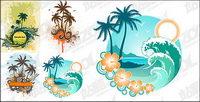 4, Kokospalmen Vektor Thema Material