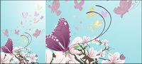 Mariposas y flores p¨²rpuras