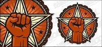 Vector logo circulaire poing star mat��riel