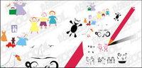 Los niños material de dibujo vectorial