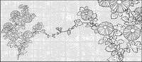 L¨ªnea de dibujo de vectores de flores-37 (Chrysanthemum, fondo)