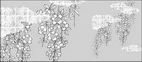 Vector dessin de fleurs-38 (fleurs de cerisiers, des nuages, des treillis dor��)