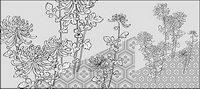 Vector Linienzeichnung von Blumen-39 (Chrysanthemum, Hintergrund)